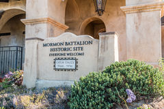 Entrance to Mormon Battalion Historic Site in San Diego royalty free stock images