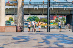 Entrance to Moscow Gorky park from Museon park of arts. Unidenti Royalty Free Stock Photo