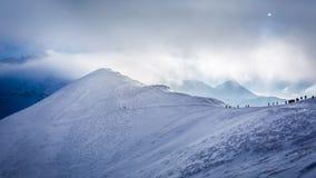 Entrance to the mountain peak in winter Stock Photo
