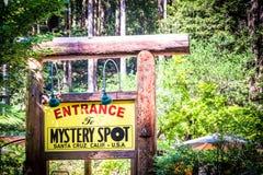 Entrance to Mystery spot museum in Santa Cruz Royalty Free Stock Photo