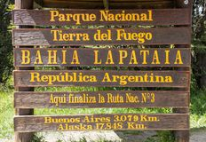 Entrance to National Park of Tierra del Fuego Near the City of Ushuaia royalty free stock photo