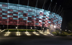Entrance to National Stadium in Warsaw at night. Royalty Free Stock Images
