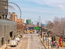 Entrance to Navy Pier at East Illinois Street. Main street in Chicago, streets in Illinois stock photo