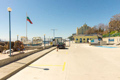Entrance to the new fishing pier in Pomorie, Bulgaria Stock Photo