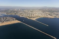 Entrance to Newport Beach Harbor in Southern California. Aerial view of entrance to Newport Beach Harbor in Orange County, California royalty free stock photo