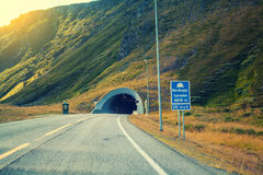 Entrance to the Nordkapp tunnel. Norway Royalty Free Stock Photography
