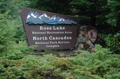 North Cascades National Park, USA. Entrance to the North Cascades National Park and Ross Lake National reservation Area in state Washington, USA Royalty Free Stock Photo