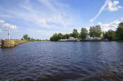 At the entrance to the Novoladozhsky channel. Shlisselburg, Leningrad region Royalty Free Stock Photos