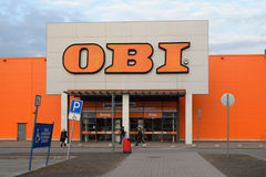 The entrance to OBI at the prospect of Cosmonauts Royalty Free Stock Photography