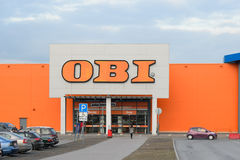 The entrance to OBI at the prospect of Cosmonauts Stock Photos