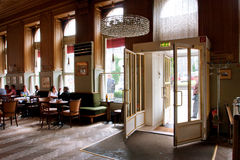 Entrance to the old cafe in typical Viennese style Royalty Free Stock Photo