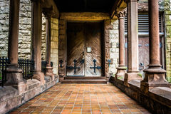 Entrance to an old cathedral in Boston, Massachusetts. Royalty Free Stock Image