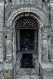 Entrance to an old family-owned mausoleum, a crypt on an abandoned Jewish cemetery Royalty Free Stock Image