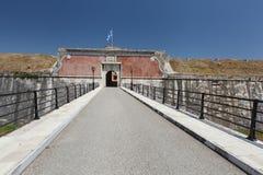 Entrance to The Old Fort, Corfu, Greece. Old venetian fortress main entrance bridge at Kerkyra, Corfu island, Greece Royalty Free Stock Images