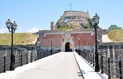 Entrance to an old fort, Corfu Town, Greece. Entrance to the ancient fortress of Corfu town, Corfu Island, Greece Stock Photos