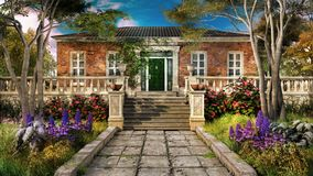Entrance to old house. Entrance to  old brick  house with colorful flowers and trees Royalty Free Stock Image