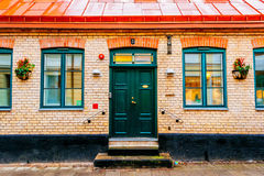 Entrance to the old house, classic style, in Lund, Sweden Royalty Free Stock Photography