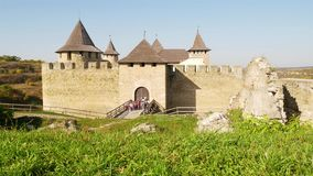 Entrance to the old Khotyn fortress stock footage