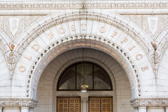 Entrance to Old Post Office building Washington Stock Photo
