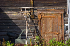 The entrance to the old rustic barn. Arkhangelsk oblast Stock Photo