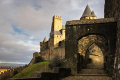 Entrance to the old walled citadel. Carcassonne. France Stock Photography