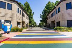 Entrance to one of the Google Campuses in Silicon Valley. August 9, 2018 Mountain View / CA / USA - Entrance to one of the Google Campuses in Silicon Valley royalty free stock photography