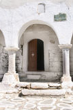 Entrance to orthodox church- Paros, Greece Stock Images