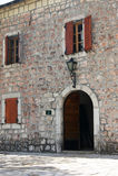 Entrance to the Palace Billiards, Cetinje Stock Image