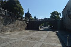 Entrance To The Palace Of Ferinanes In The Plaza De Ferinanes In Cambados. Nature, Architecture, History, Travel. August 18, 2014 royalty free stock image