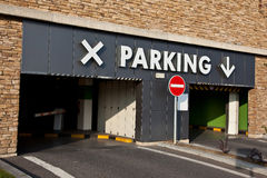 Entrance to parking Royalty Free Stock Image