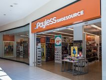 Entrance to Payless Shoesource store at Dulles Town Center in Loudon County, VA stock photo