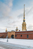 Entrance to the Peter and Paul Fortress in the snow Royalty Free Stock Photo