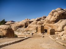 Entrance to Petra through the gorge Siqh Royalty Free Stock Image
