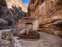 Entrance to Petra through the gorge Siqh Stock Photography