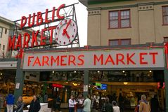 Seattle Pike Place Market entrance stock photography