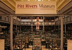 The entrance to The Pitt Rivers Museum in Oxford. A collection of over half a million archeological and anthropological artifacts stock photo