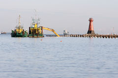 The entrance to the port. Dredging and reconstruction of the entrance to the Port of Gdansk Poland Royalty Free Stock Photography