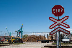 Entrance to port. With stop sign stock photo