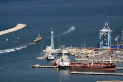 Entrance to the port of Haifa Stock Photos