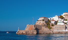 The entrance to the port of the island of Hydra Royalty Free Stock Images