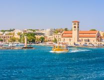 Entrance to the port of Mandraki Rhodes. Rhodes Island. Greece Stock Photography