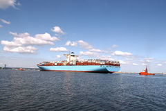 Entrance to the port's largest container ship royalty free stock photos
