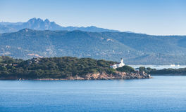 Entrance to Porto-Vecchio port, white Lighthouse Royalty Free Stock Photography