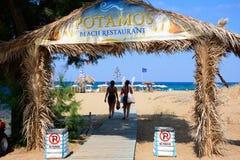 Entrance to Potamos beach, Malia. Stock Photo