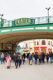 Entrance to the Prater amusement park in Vienna Royalty Free Stock Photos