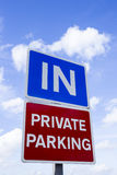 Entrance to private parking sign Royalty Free Stock Photography