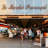 Entrance to Provencal Market in Antibes, Cote D`Azur, France. Antibes, France - July 8th, 2018: Entrance to Provencal Market in Antibes, Cote D`Azur, France royalty free stock photos