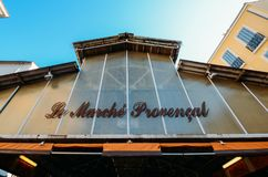 Entrance to Provencal Market in Antibes, Cote D`Azur, France. Antibes, France - July 8th, 2018: Entrance to Provencal Market in Antibes, Cote D`Azur, France royalty free stock photo