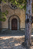 Entrance to q church in Vallon Pont d'Arc, France. Royalty Free Stock Photos