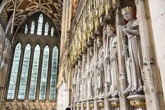 Entrance to the Quire in York Minster, UK, featuring stone statu Stock Photos
